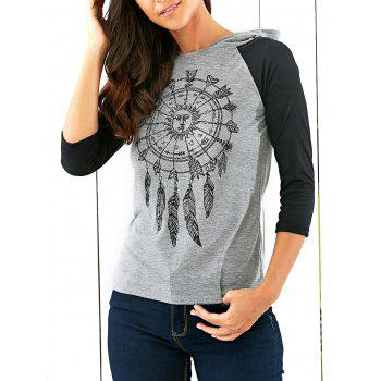 Raglan Sleeves Printed Hooded T-Shirt