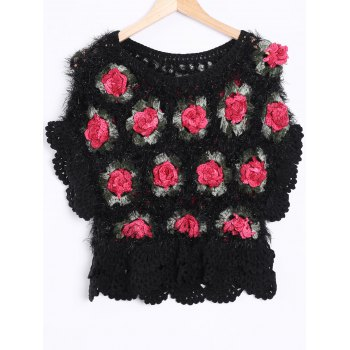 Scalloped Rose Hand Crochet Sheer Cropped Sweater
