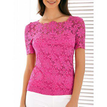 Scalloped Neck See Through Lace Blouse