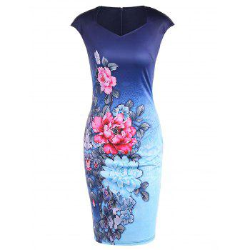 Cape Sleeve Tie Dye Floral Print Fitted Dress