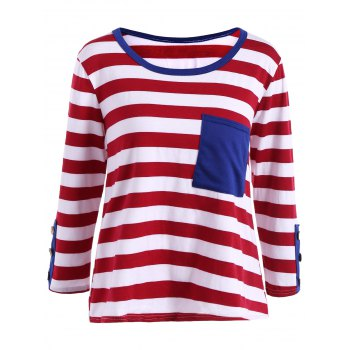 Stripe Front Pocket Fitted Long Sleeve T-Shirt