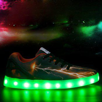 Lights Up Led Luminous Lightning Pattern Casual Shoes