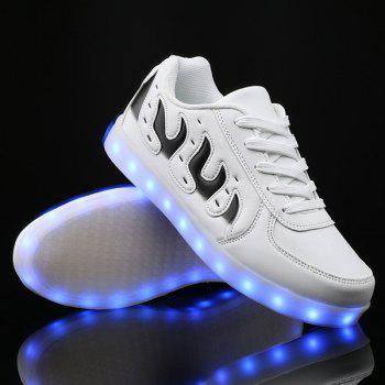 Buy Led Luminous Color Block Lights Casual Shoes WHITE