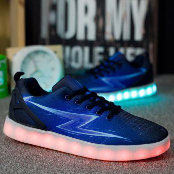 Led Luminous Lightning Print Lights Up Casual Shoes - BLUE 43