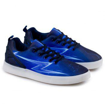 Led Luminous Lightning Print Lights Up Casual Shoes - BLUE 40