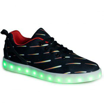 Lights Up Led Luminous Meteor Pattern Casual Shoes - BLACK 40