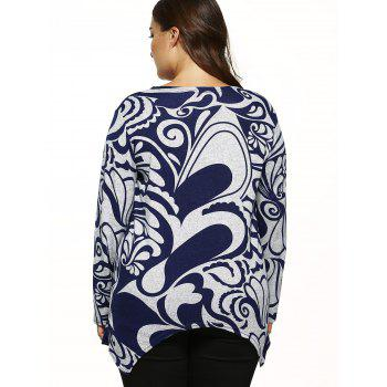 Paisley Print Knitted Asymmetrical Pullover Plus Size Sweater - GRAY ONE SIZE
