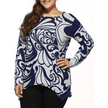 Paisley Print Knitted Asymmetrical Pullover