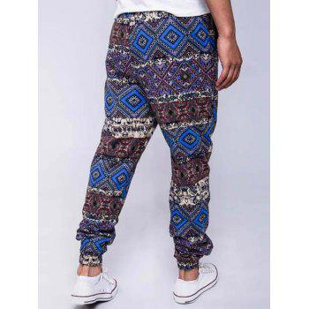 Lace-Up Ethnic Style Geometric Print Beam Feet Jogger Pants - BLUE L