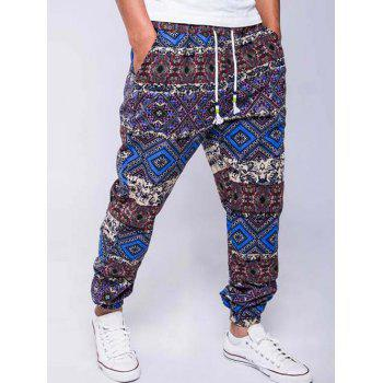 Lace-Up Ethnic Style Geometric Print Beam Feet Jogger Pants - BLUE M