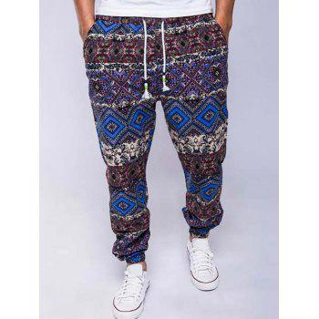 Lace-Up Ethnic Style Geometric Print Beam Feet Jogger Pants
