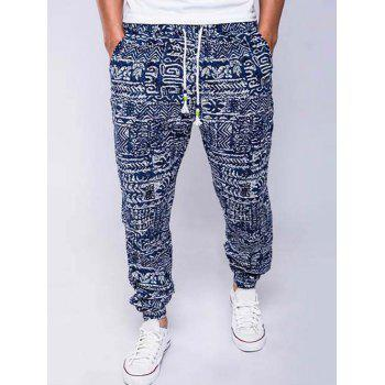 Lace-Up Cotton+Linen Geometric Print Beam Feet Jogger Pants