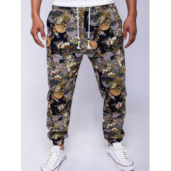 Lace-Up Cotton+Linen Flowers Print Beam Feet Jogger Pants