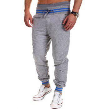 Lace-Up Beam Feet Color Block Stripe Spliced Jogger Pants