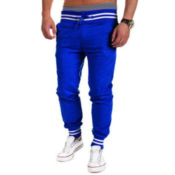 Buy Lace-Up Beam Feet Color Block Stripe Spliced Jogger Pants SAPPHIRE BLUE