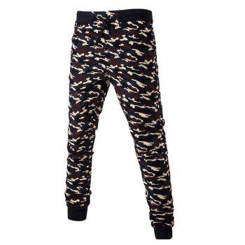 Drawstring Beam Feet Camoflage Pattern Jogger Pants
