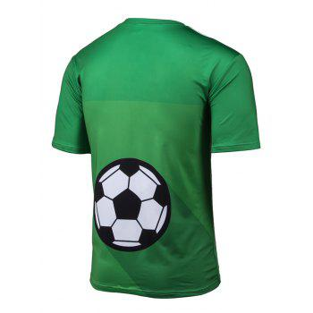 Short Sleeve 3D Brazil Figure and Football Print T-Shirt - GREEN L