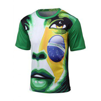 Short Sleeve 3D Brazil Figure and Football Print T-Shirt