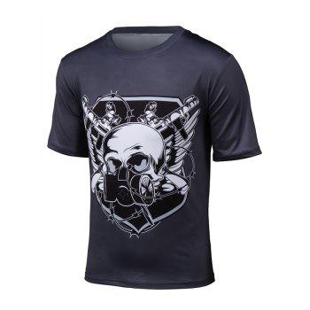 Short Sleeve 3D Gas Mask Skull Print T-Shirt