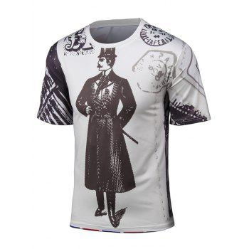 Short Sleeve 3D Cartoon Chaplin and Union Jack Print T-Shirt