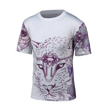 Short Sleeve 3D Leopard and Floral Print T-Shirt