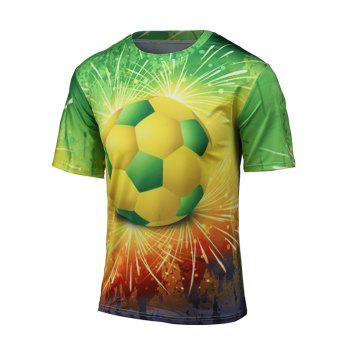 Short Sleeve 3D Football and Firework Print T-Shirt