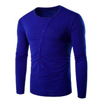 Round Neck Long Sleeve Buttons Embellished T-Shirt