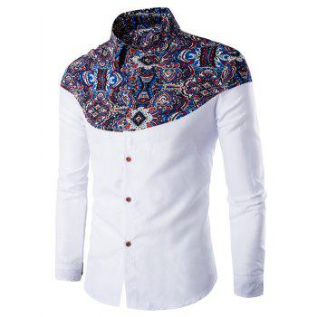 Turn-Down Collar Long Sleeve Ethnic Style Pattern Spliced Shirt