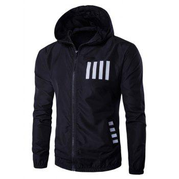 Hooded Zip-Up Number and Stripe Print Polyester Jacket