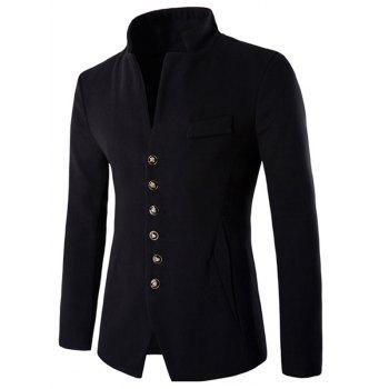 Single-Breasted Stand Collar Slimming Woolen Blazer