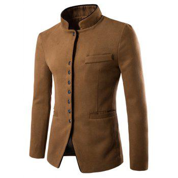 Single-Breasted Stand Collar Slimming Wool Blazer