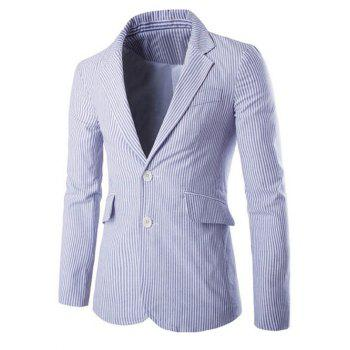 Vertical Stripe Splicing Lapel Single-Breasted Blazer