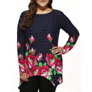 Polka Dot Knitted Asymmetrical Pullover