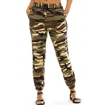 Fashionable Narrow Feet Lace-Up Camo Print Women's Pants