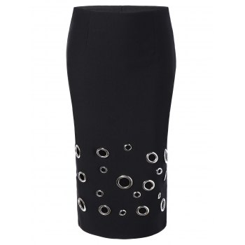 Elastic Waist Metal Circle Mini Sheath Skirt