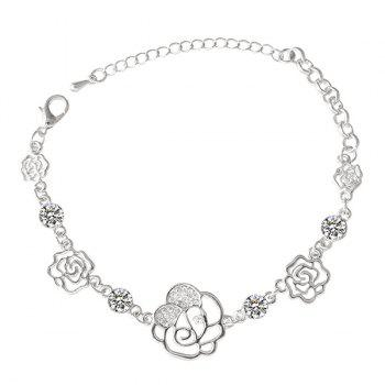 Rhinestone Hollow Out Rose Chain Bracelet