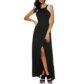Mesh Insert Slit Zip Long Sleeveless Formal Dress