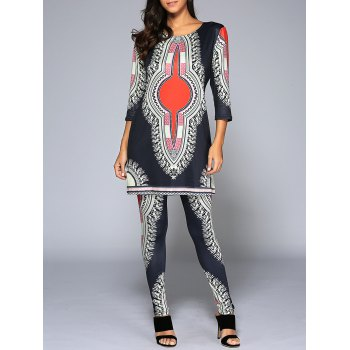 3/4 Sleeve Ethnic Print T-Shirt + Skinny Pants Twinset