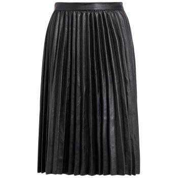 Pleated PU Leather High Waist Skirt