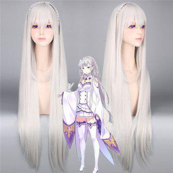 ReZero Emilia Extra Long Silky Straight Synthetic Cosplay Wig With Braided