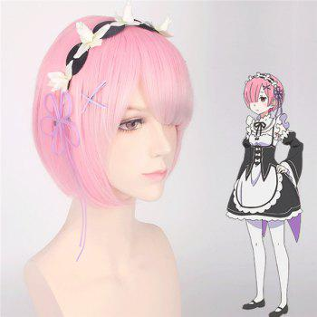 ReZero Ram Bob Style Short Synthetic Straight Ombre Color Cosplay Wig