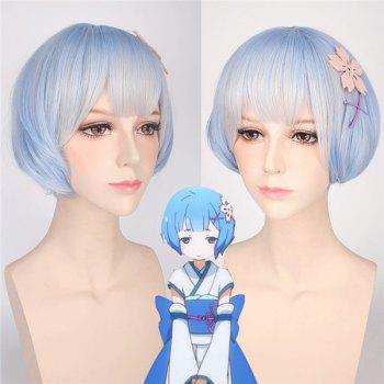 ReZero Rem Young Style Ombre Color Synthetic Bob Hairstyle Short Cosplay Wig