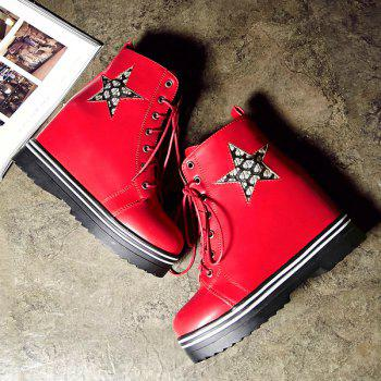Star Embroidered Tie Up Wedge Ankle Boots
