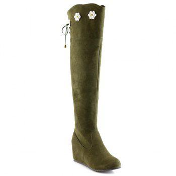 Buy Tie Floral Wedge Suede Knee Length Boots ARMY GREEN
