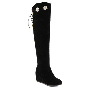 Tie Up Floral Wedge Suede Knee Length Boots