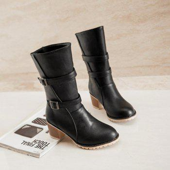 Buckle Chunky Heel Slip On Middle Boots