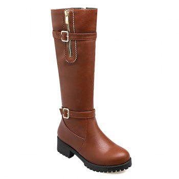 Platform Round Toe Knee Length Boots