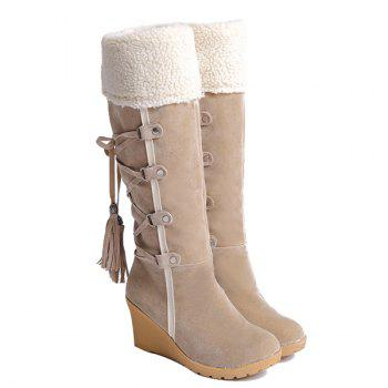 Tassels Flock Wedge Suede Mid Calf Boots