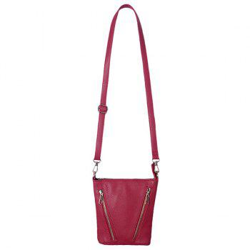 Textured PU Leather Multi Zips Crossbody Bag