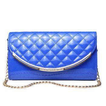 Metal Trimmed Rhombic Patent Leather Crossbody Bag